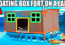 boat, box fort boat, boating, lake, challenge