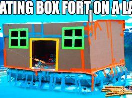 boat, box fort boat, boating, lake, challenge